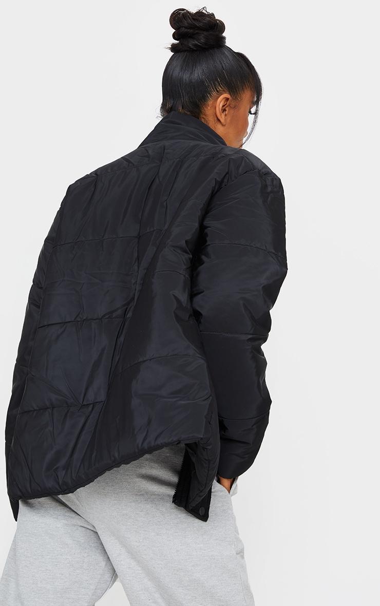 Black Basic Panel Zip Up Puffer 2
