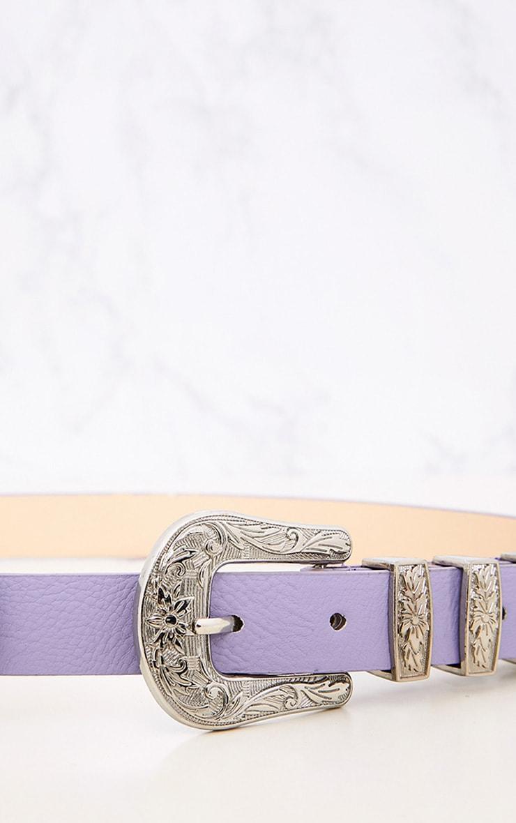 Ceinture western lilas à double boucles 5