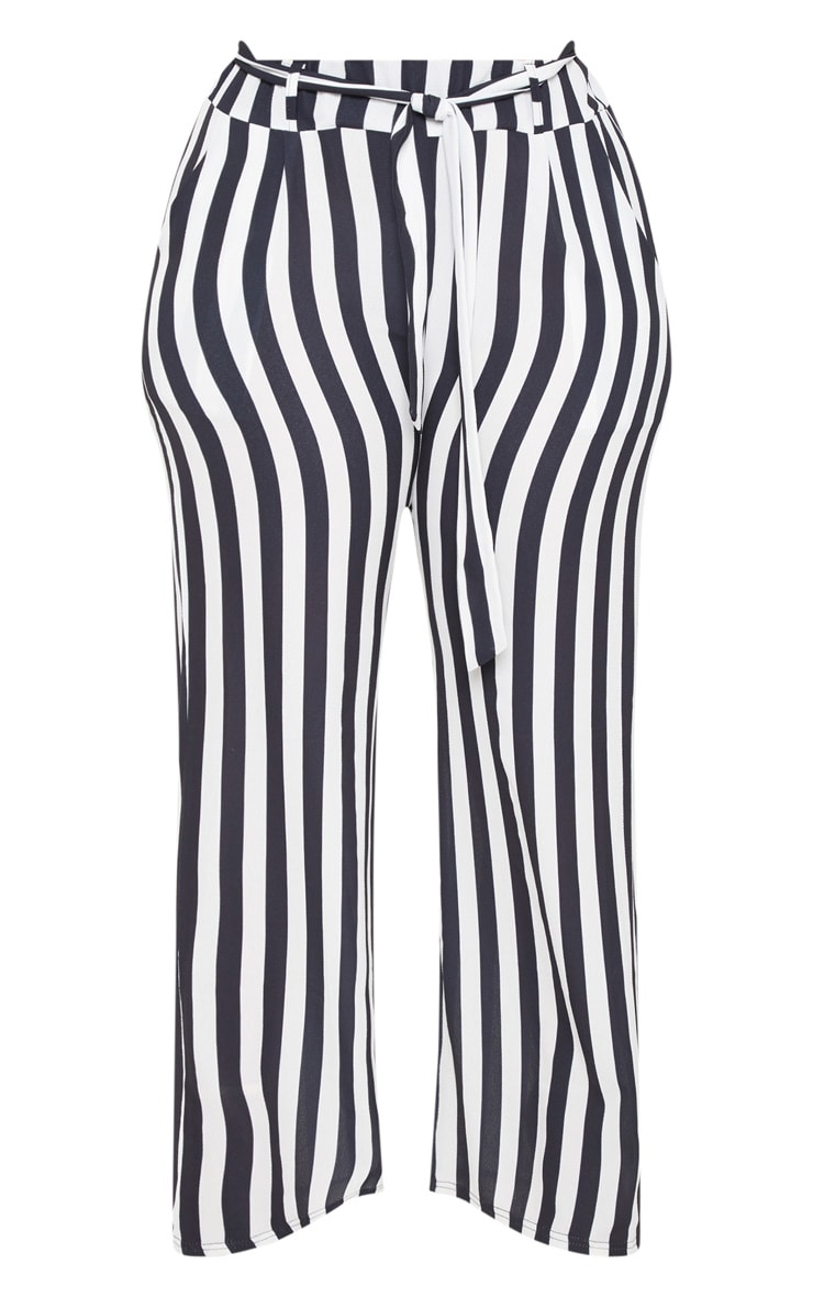 Plus Monochrome Tie Waist Striped Wide Leg Trousers 3