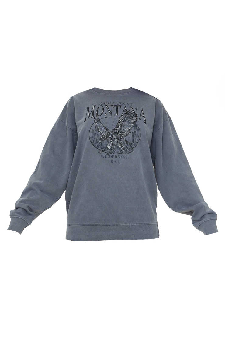 Charcoal Montana Print Oversized Washed Sweater 5