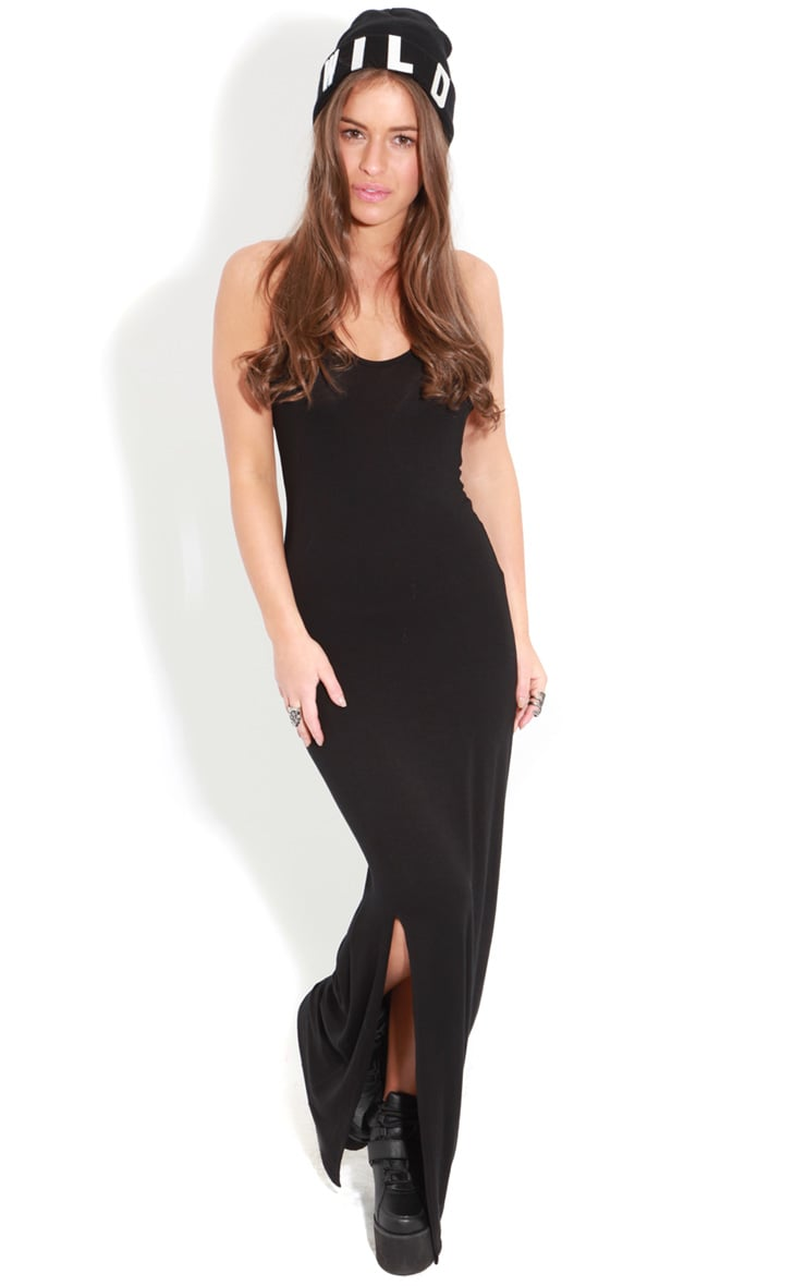 Raya Black Split Strappy Maxi Dress 1