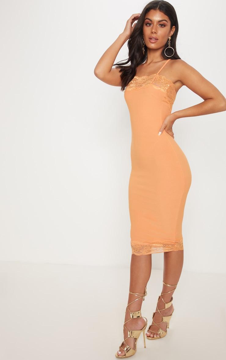Tangerine Lace Trim Cross Back Midi Dress 4