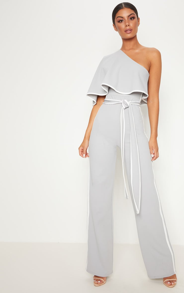 Grey One Shoulder Contrast Binding Jumpsuit