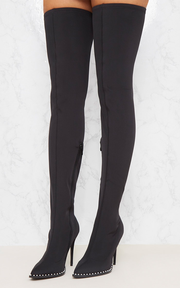Black Neoprene Pearl Embellished Thigh High Boot 2