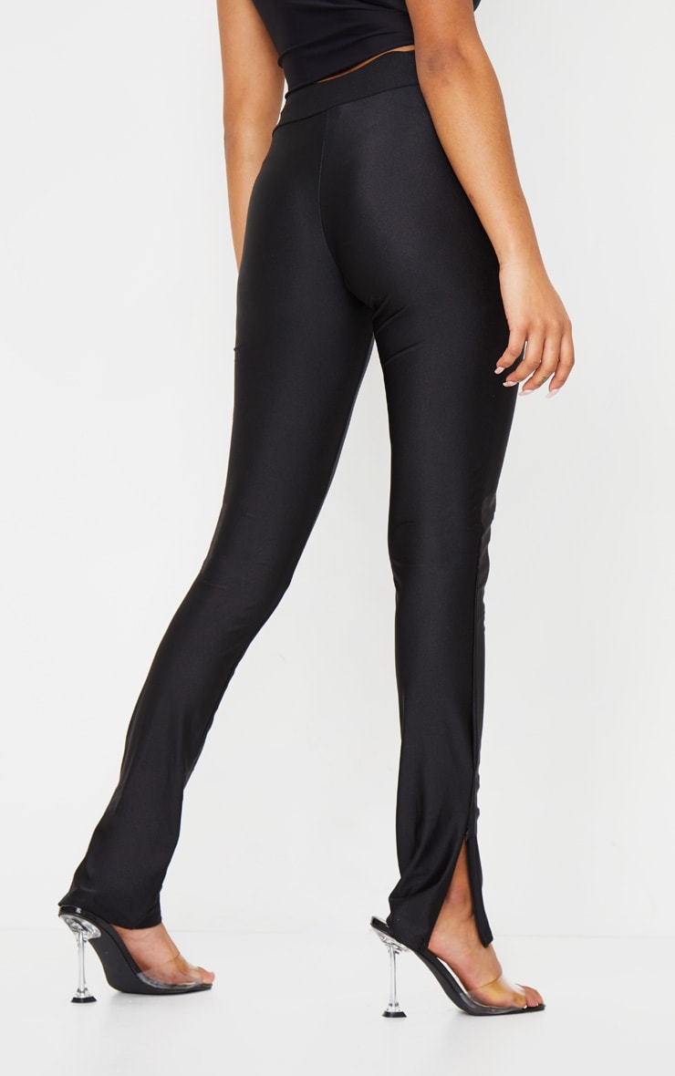 Petite Black Zip Hem Disco Leggings 3