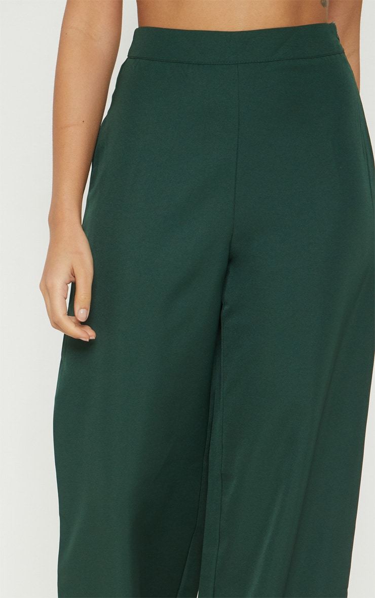 Petite Emerald Green Button Detail Wide Leg Pants 5