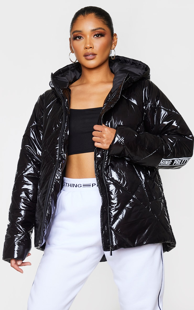 PRETTYLITTLETHING Black High Shine Diamond Quilted Oversized Puffer 2