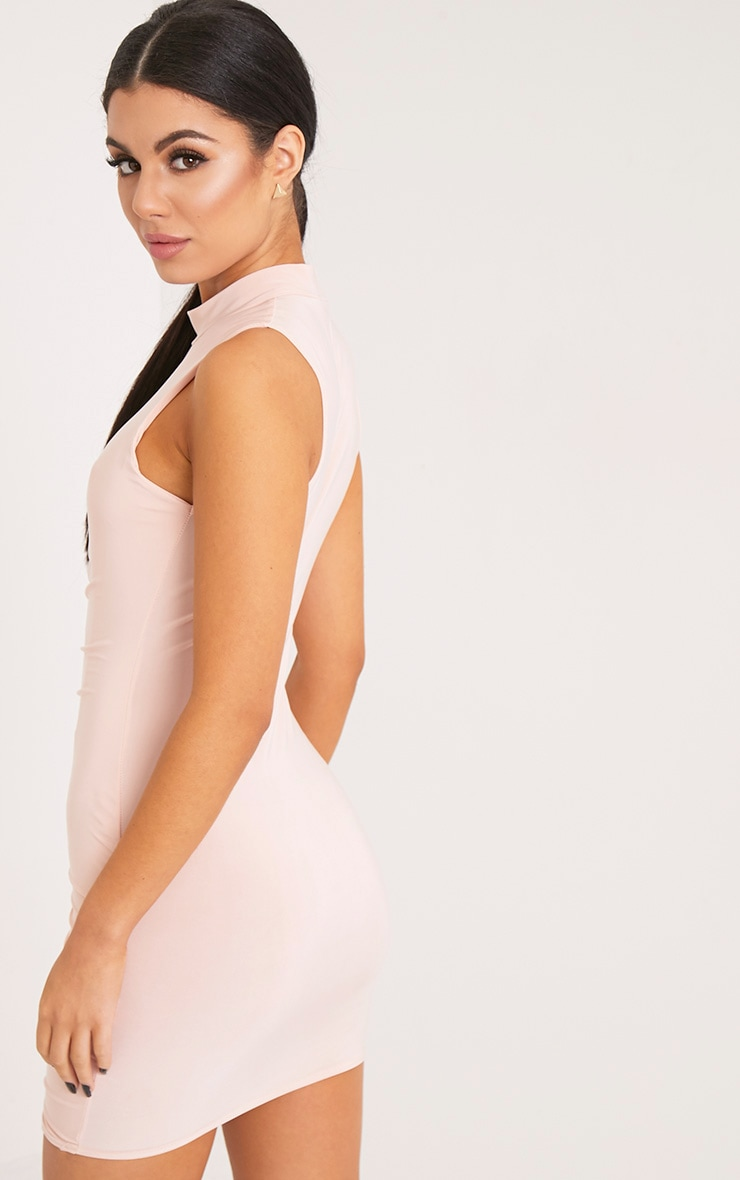 Glendah Nude Ruched Side Sleeveless Bodycon Dress 2
