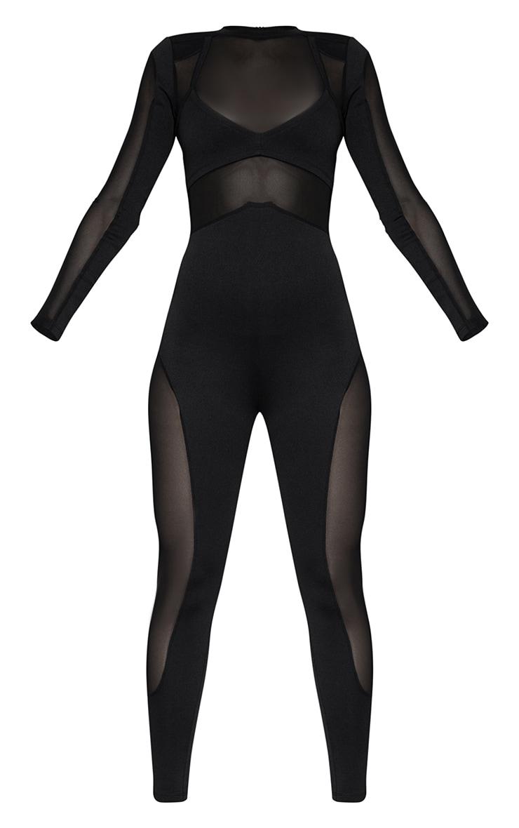 Black Long Sleeve Mesh Panelled Jumpsuit  5
