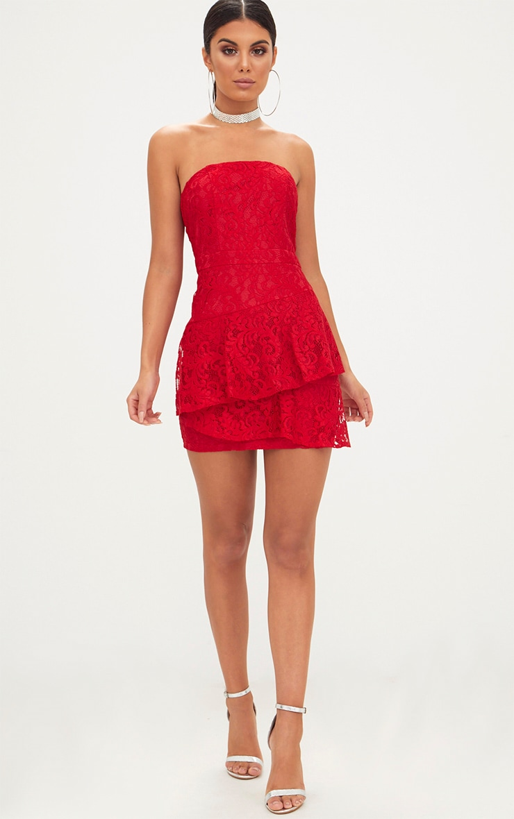 Red Lace Frill Overlay Bandeau Bodycon Dress 4