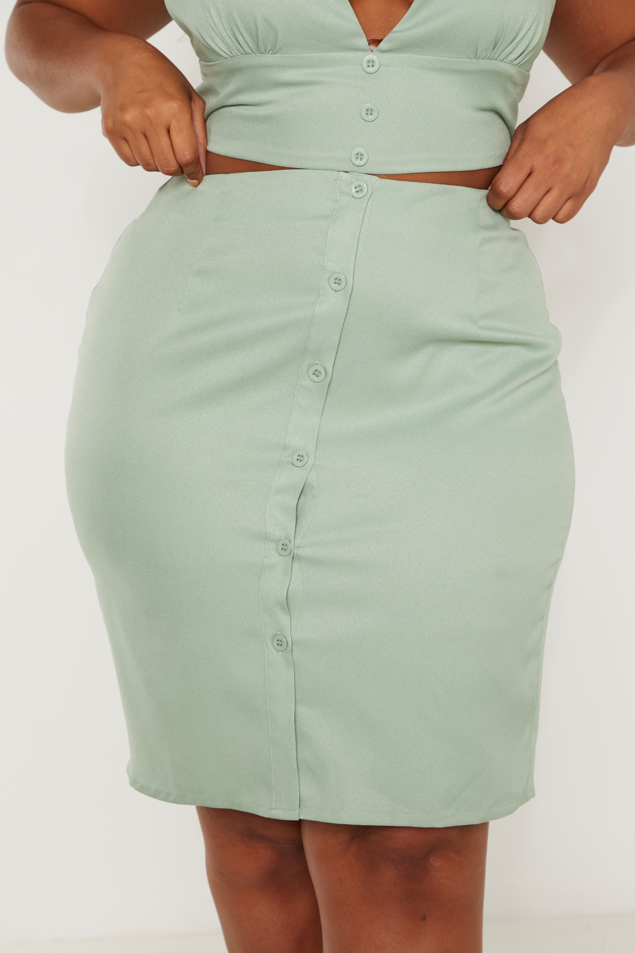 Plus Sage Green Button Midi Skirt  6