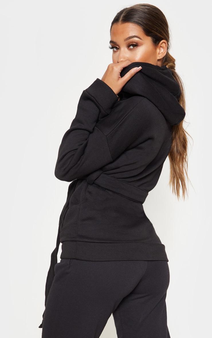 Hoodie ceinturé noir oversize 2