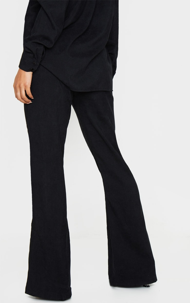 Black Cord High Waisted Wide Leg Trouser 3