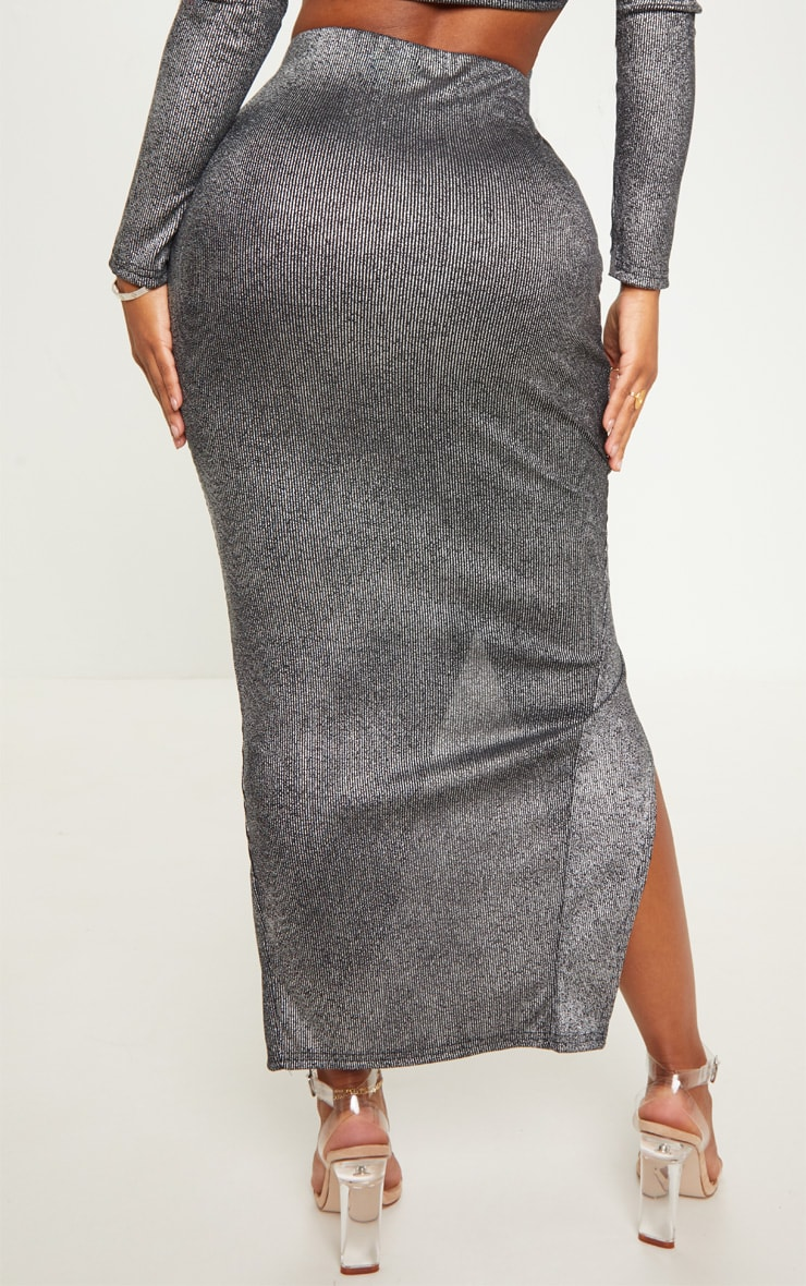 Shape Black Metallic Rib Midaxi Skirt  3