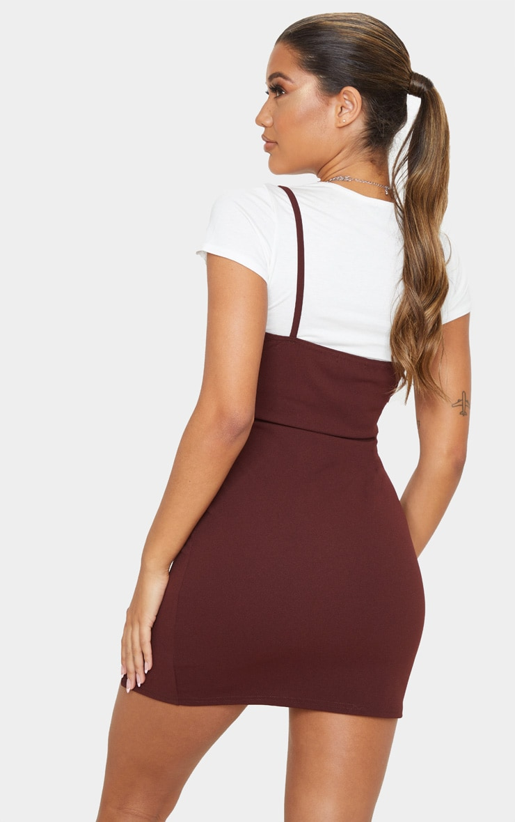 Chocolate 2 In 1 Strappy Split Front Shift Dress 2