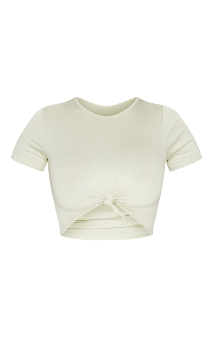 Pale Olive Jersey Knot Front Crop T Shirt 5