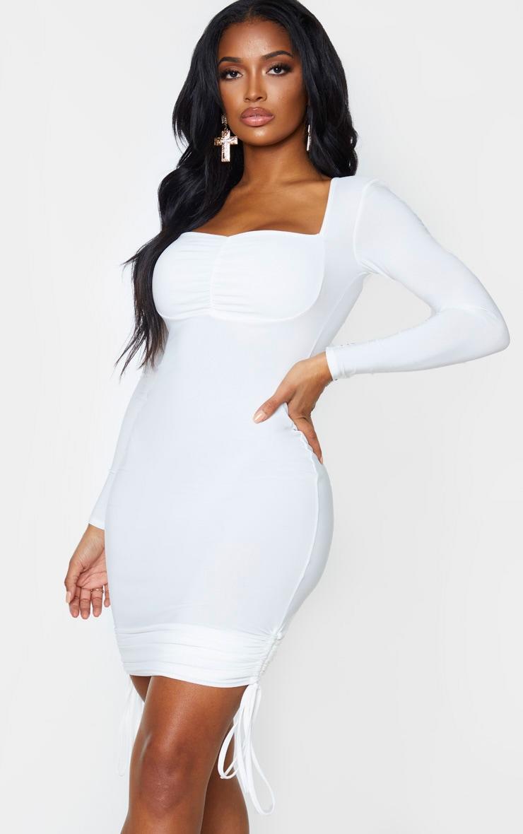 Shape Cream Slinky Ruched Side Long Sleeve Mini Dress 1