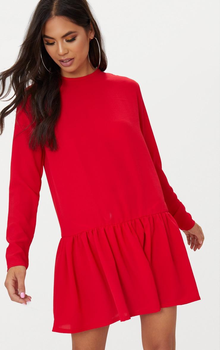 ecbd6b91359 Red Long Sleeve Frill Hem Shift Dress   PrettyLittleThing USA