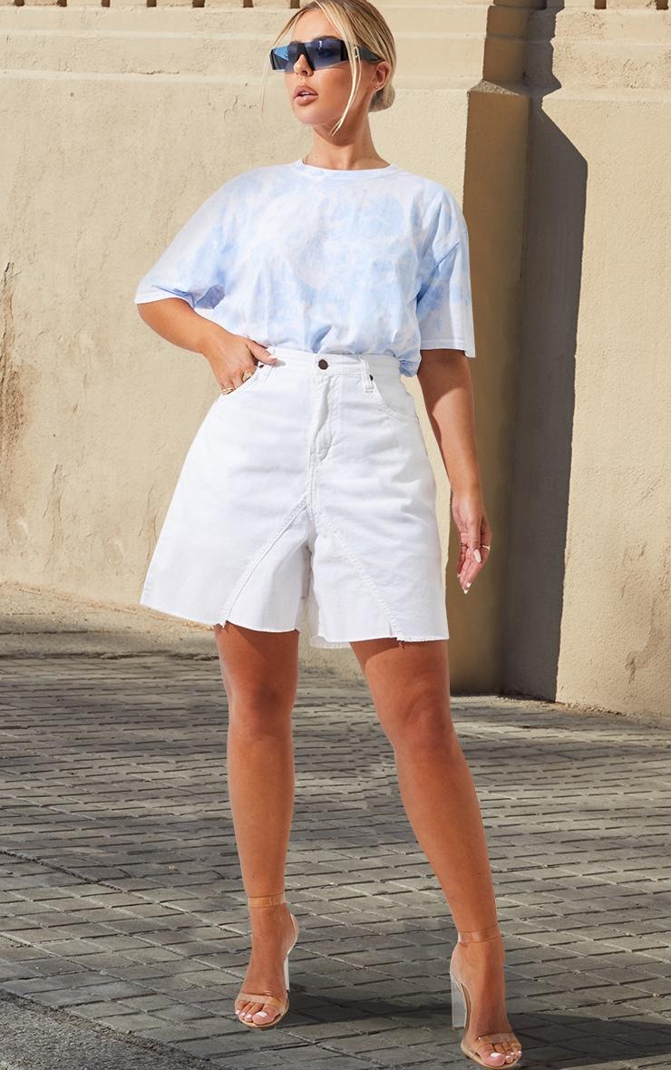 Petite White Denim Longline Shorts 5