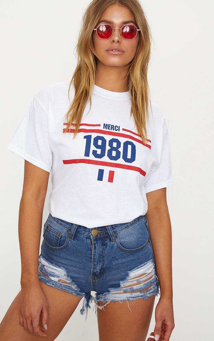 White 1980 Slogan T Shirt 1