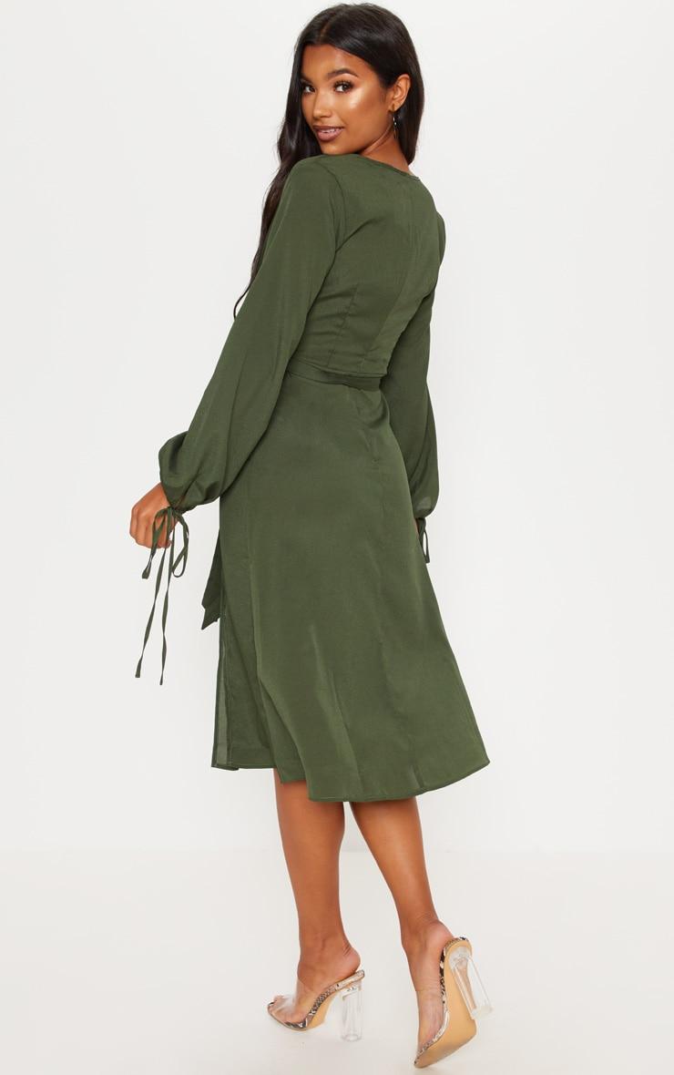 Forest Green Tie Waist Split Midi Dress 2
