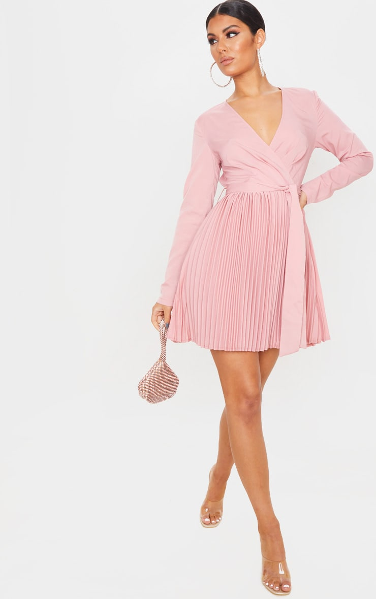 Dusty Pink Long Sleeve Pleated Skater Dress 4