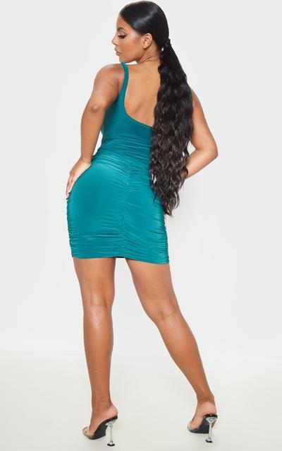 Emerald Green Slinky Ruched Mini Skirt