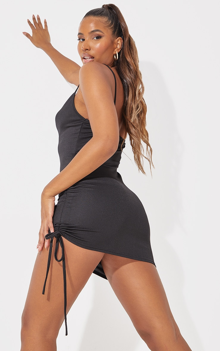 Black Cowl Neck Ruched Side Bodycon Dress 3
