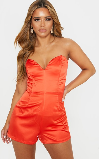 Petite Orange Corset Satin Playsuit