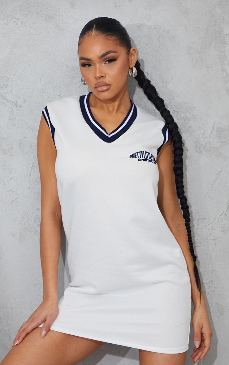 PRETTYLITTLETHING White Sleeveless Sweater Vest Jumper Dress 3