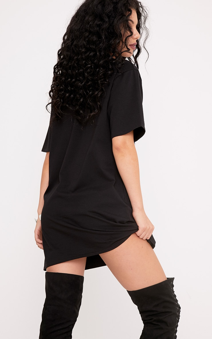 Rock and Riot Slogan Extreme Plunge Cut Out T Shirt Dress 2
