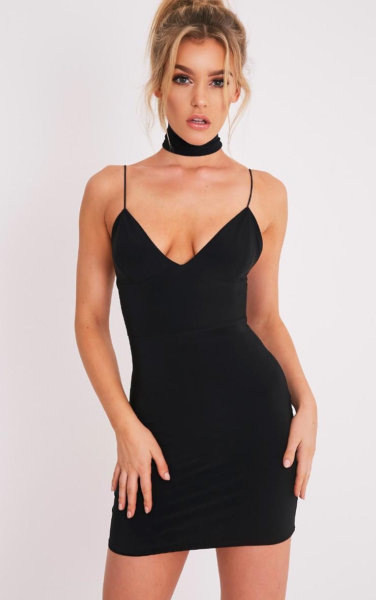 Ayishah robe moulante plongeante à bretelles près du corps noire 1