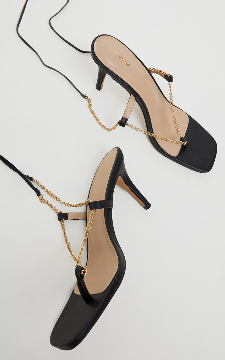 Black Chain Toe Thong Lace Up  Heeled Sandals 3