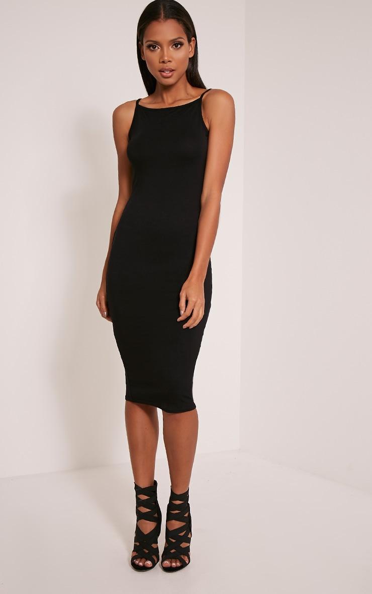 Basic Black Racer Neck Midi Dress 1