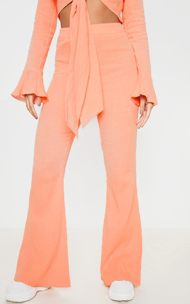 Coral Textured Flare Leg Trouser 2