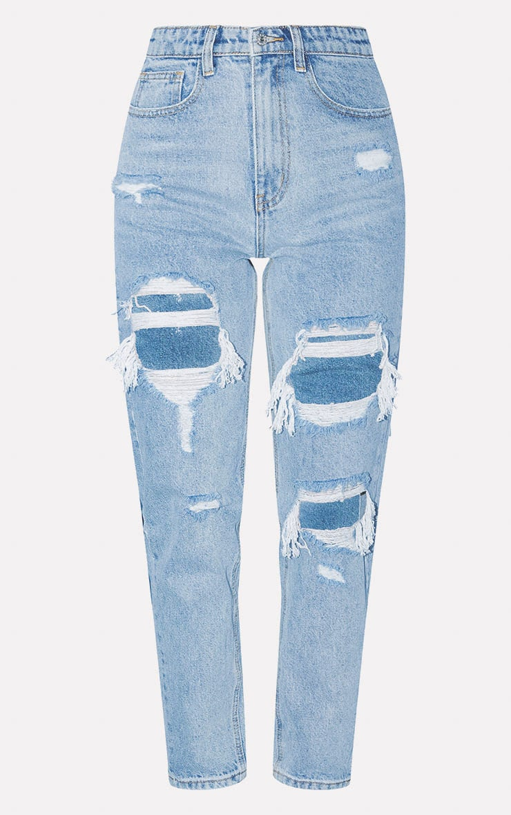 PRETTYLITTLETHING Light Wash Distressed Mom Jean 3