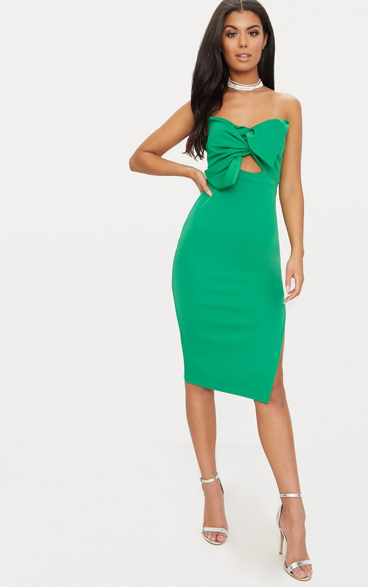 Bright Green Bow Detail Scuba Midi Dress 1
