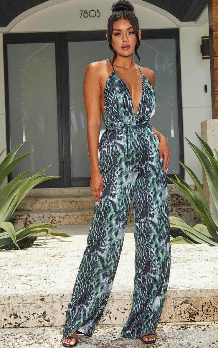 Khaki Leopard Print Halterneck Wide Leg Jumpsuit 1