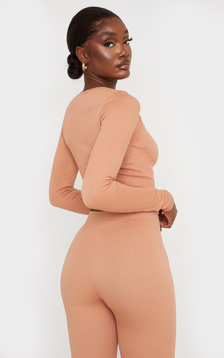 Tall Taupe Structured Contour Ribbed Round Neck Long Sleeve Crop Top 2