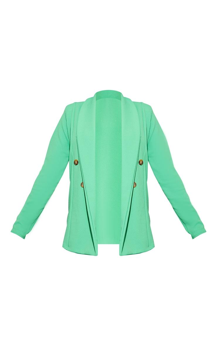 Bright Green Oversized Shoulder Pad Button Detail Blazer 5