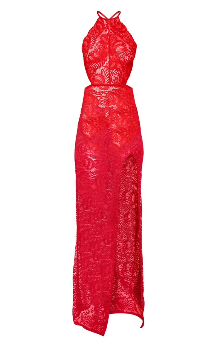 Red Sheer Lace Extreme Split Maxi Dress 3