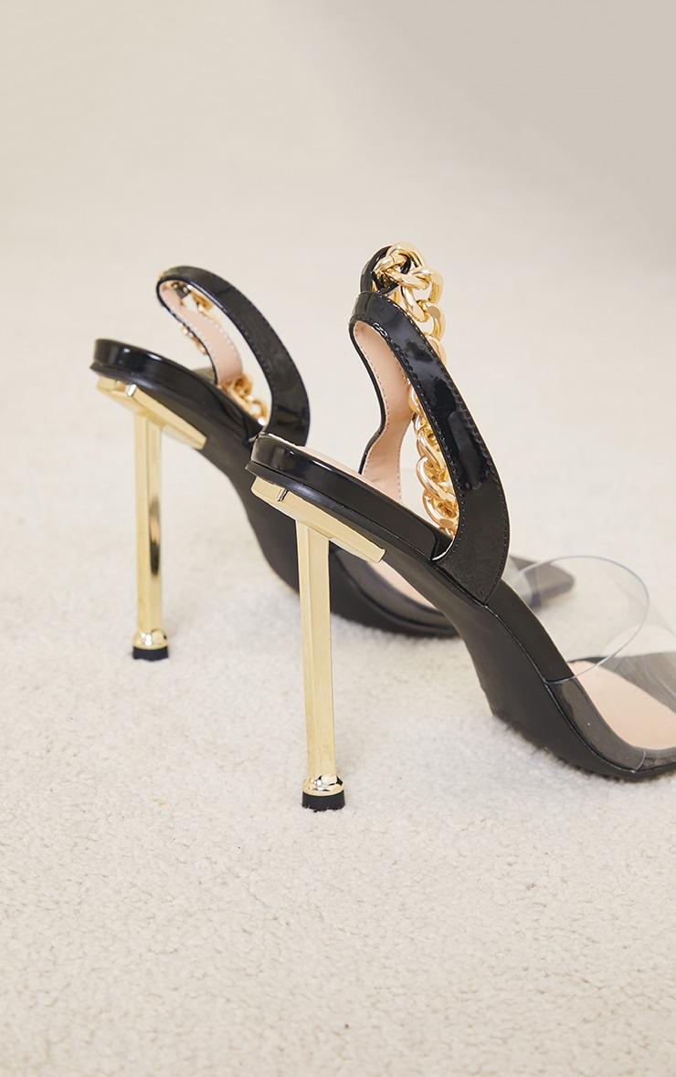 Black Clear Strap PU Chain Strap Metal High Heels 4