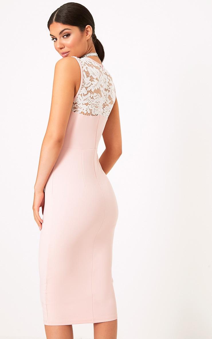 Domanique Nude Lace Contrast Midi Dress 2