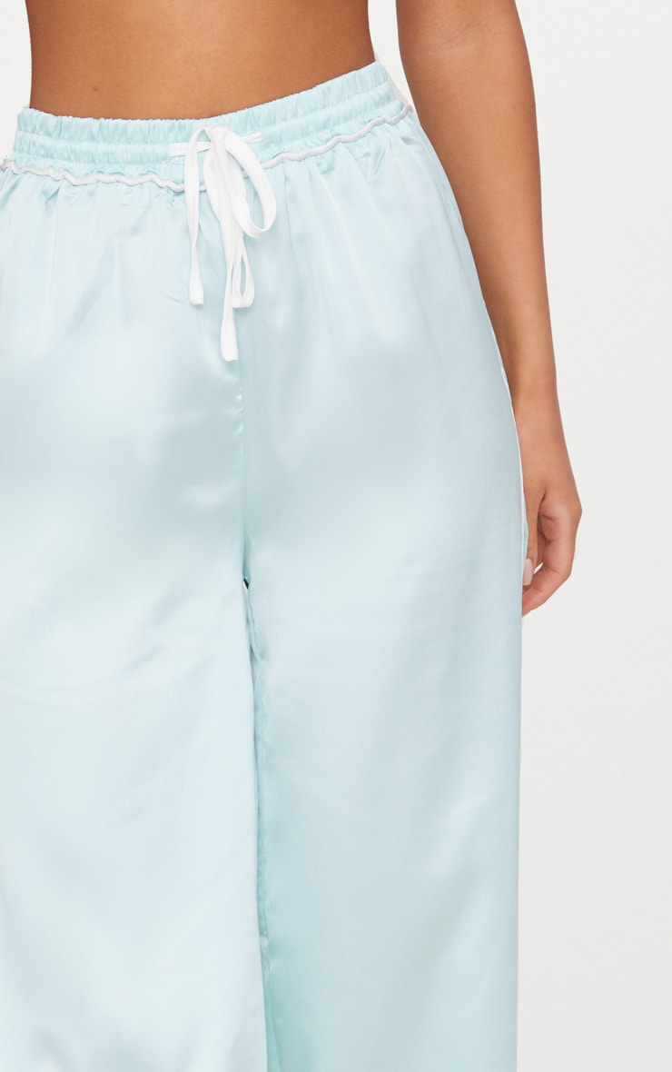 Mint Contrast Binding Satin Trousers 5