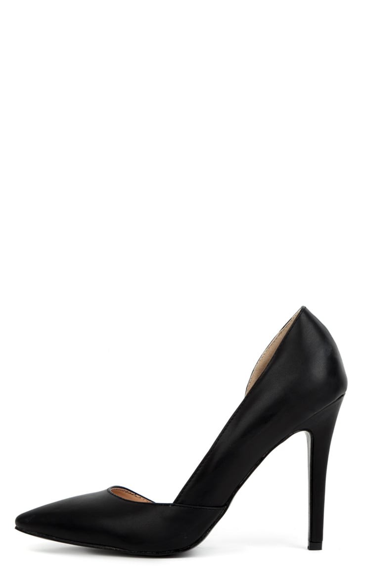 Bianca Black Leather Pointed Heels 1