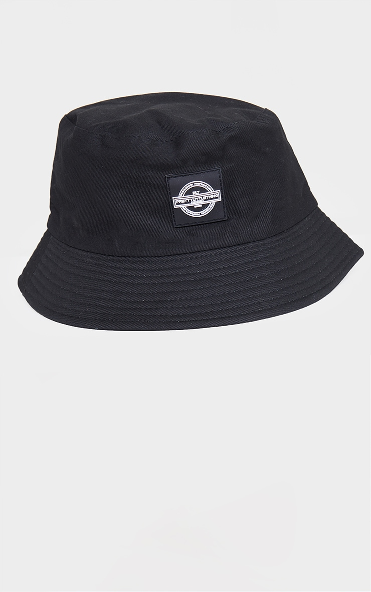 PRETTYLITTLETHING Black Branded Bucket Hat 2