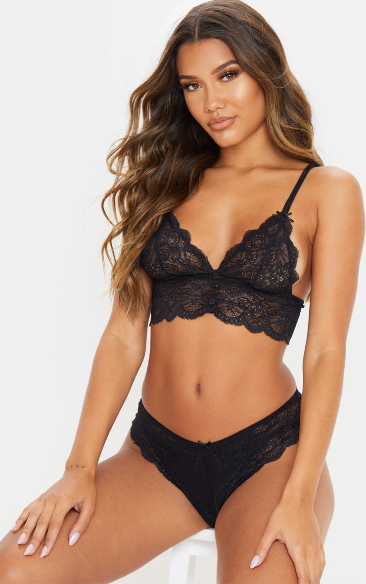 Black Button Front Bralet And Knicker Set 1
