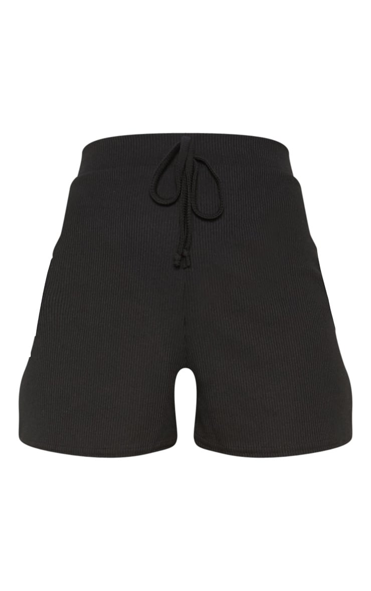 Black Tie Detail Drawstring  Rib Short 3