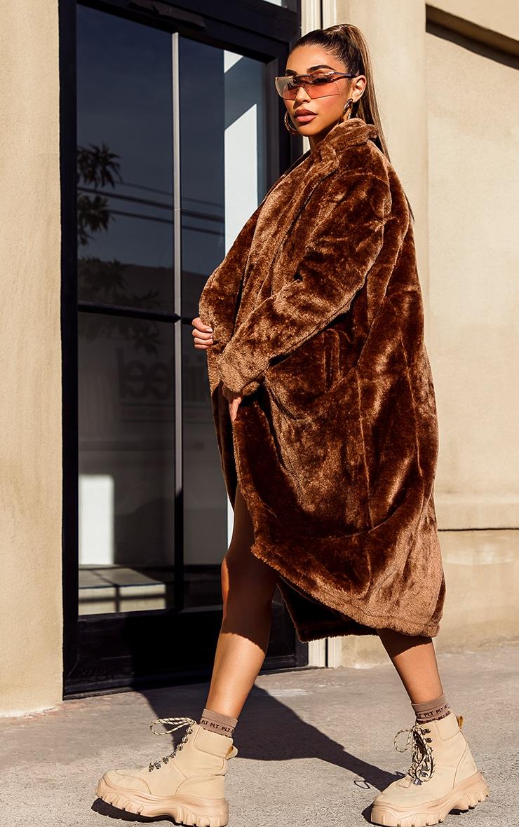 Brown Faux Fur Coat  1