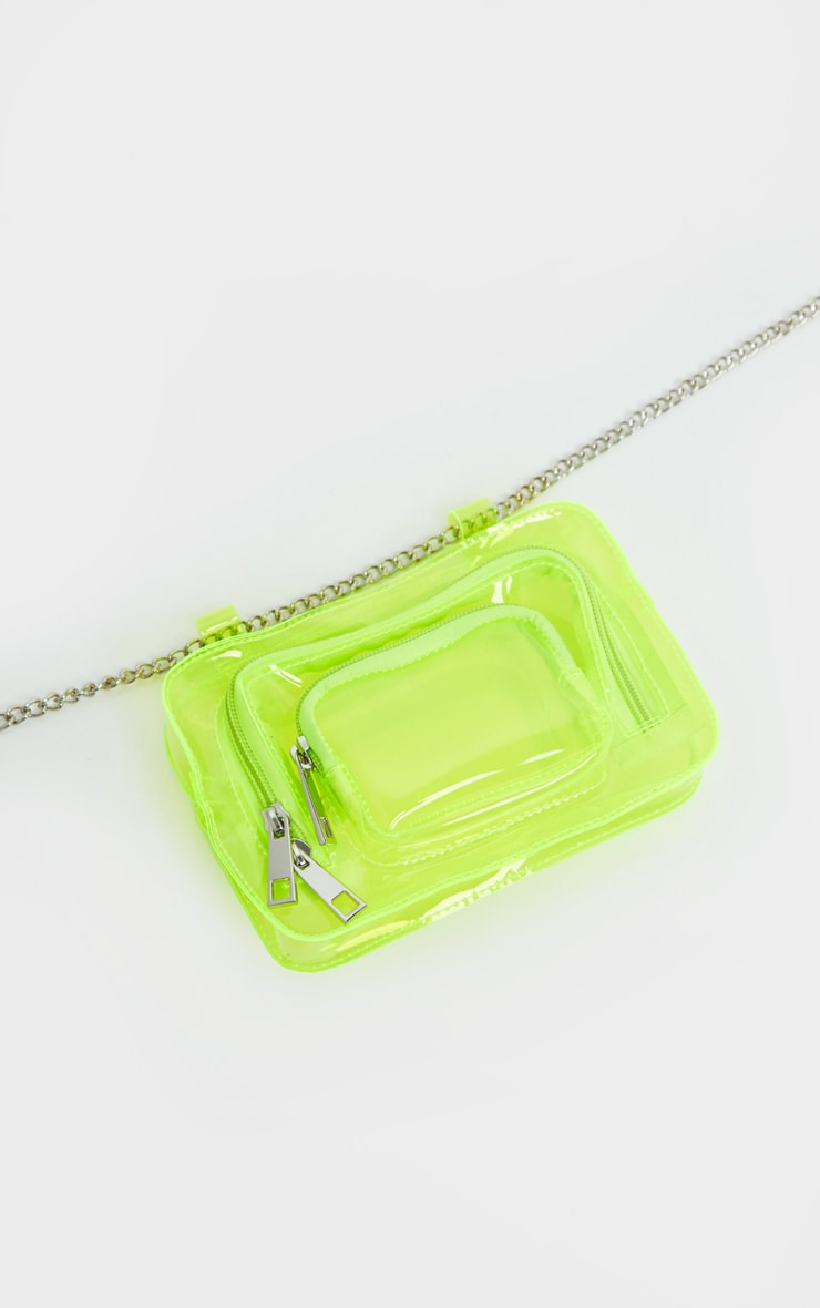 Neon Lime Plastic Multi Pocket Bum Bag 3